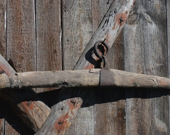 Antique Horse Yoke Iron Wood Harness Yoke Metal Ring Weathered Wood Metal Farm Plow Rustic Country Farm Decor Vintage Collectibles Gift