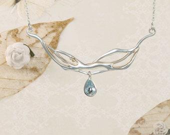 Teardrop of Blue Topaz, Silver Necklace