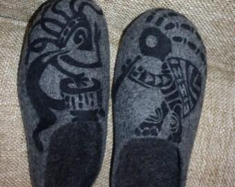 Ethnic Felted Shoes Men Women Slippers Kokopelli Wool Felt Tribal African Folk Shoes Boho Native American Slippers Parents Hippie Zen Gift