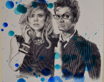 Doctor who rose Tyler tenth doctor David Tennant Billie Piper portrait