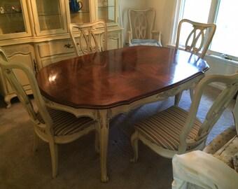 FRENCH PROVINCIAL Dining Set -  White Fine Furniture-Antique White/ Soft Blue Trim