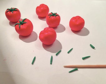 Tomatoes. Polymer vegetables. Handmade! Polymer clay.Miniature vegetables for playing with children.