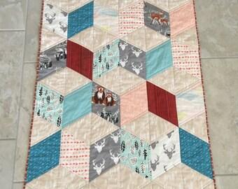 Woodland creatures baby quilt - gender neutral baby quilt - nature theme baby quilt - soft natural colors
