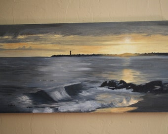 Cape May Beach Painting, Sunset Beach, Oil Painting