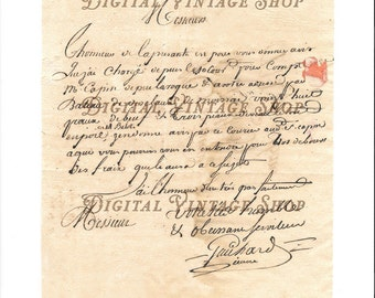 18th Century French Hand Written Letter Digital Download