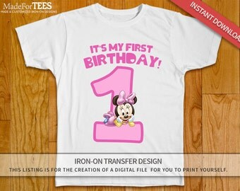 Minnie Mouse 1st Birthday Girl Iron On Transfer Tshirt Design - INSTANT DOWNLOAD