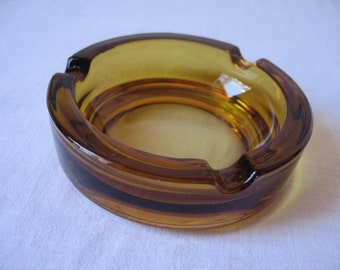 Amber Glass ashtray / colour style Vereco and the 1970s Duralex