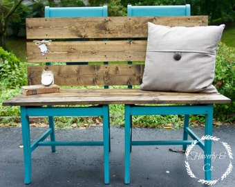 SOLD Repurposed Turquoise Chair Bench