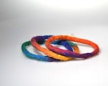 Rainbow merino wool bracelets felted bangles set of three