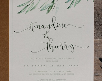 wedding stationery printing - PDF - Invitations, RSVP, Leaves olive