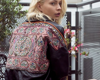Hand-made one of a kind Lamb Nappa Vintage Embroided Bomber Jacket