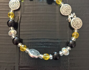 Black and Clear Bracelet, Accent Color, Beaded