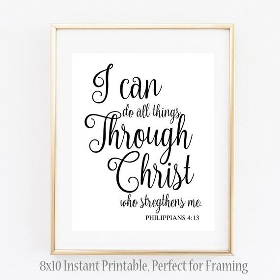 Biblical Quote L Philippians 4:13 Wall Art Sign Unique Wall