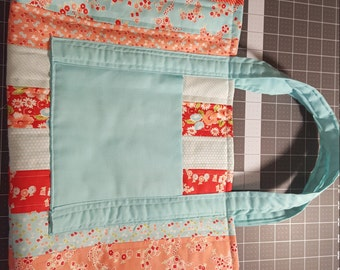 Quilted red and turquoise tote bag