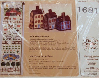 """Vintage Needlecraft Kit - 1988 """"Down on the Farm"""" by The Creative Circle #1681"""
