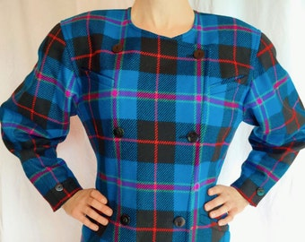 Rare Vintage 70s 80s Escada Blue Plaid Jacket Coat