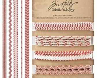 Tim Holtz Idea-ology Trimmings Naturals, Red/Cream
