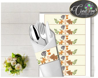 Baby shower Woodland NAPKIN RINGS printable with forest animals, gender neutral, Jpg and Pdf digital files, instant download - w0001