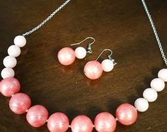 Pink pearl beaded statement necklace and earring set