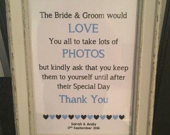 A4 Photo Wedding Sign