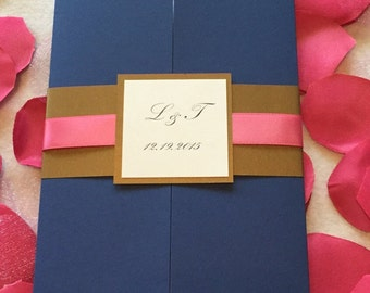 NavyGatefold Wedding Invitation With Pink Ribbon Accent