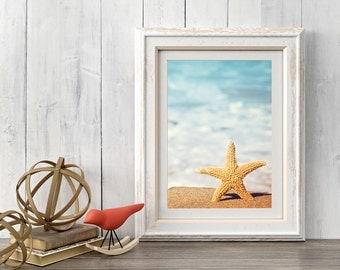 Starfish Decor, Beach Decor, Printable Art, Coastal Wall Art, Coastal Decor Beach, Coastal Art, Digital Download, Summer Print