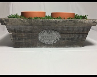 Wooden Flower box with two Terracotta Pots Surrounded by Moss, Succulent Planter, Distressed Flower Pot