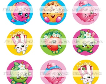 Shopkins - 1 inch circle images, bottlecap, cupcake topper - INSTANT DOWNLOAD