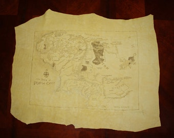 Hand burned map of Middle Earth