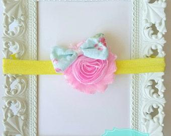 Flower and bow headband