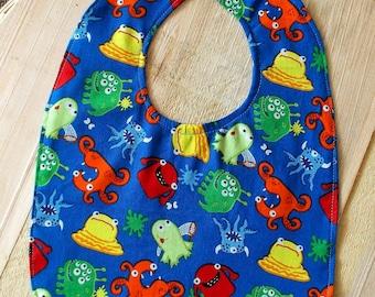 Whimsical Funny Monsters Print Baby Bib
