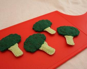 Felt Broccoli Set - Pretend Play Food - Toy Veggies - Felt Produce - Play Kitchen Set - Felt Veggie - Felt Food - Toy Kitchen Set