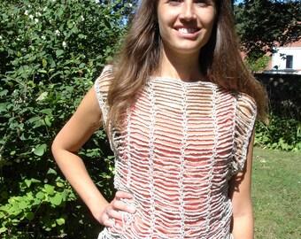 Crochet top in beige gloss yarn-size S/M