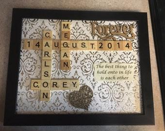 Customizable Wedding - Anniversary - Engagement Scrabble Art