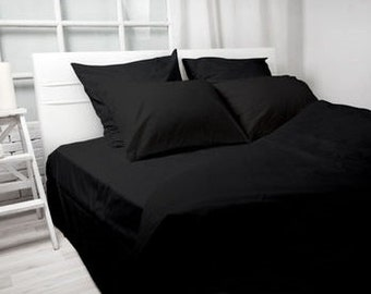 Linen queen king Black bedding Black Linen Black Duvet Cover Bedding Set Black bed sheet linen bedding king size comforters Modern bedroom
