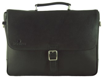 "MONVALI mens leather Briefcase Dvonta black laptop bag 14 ""business bag 38 cm"