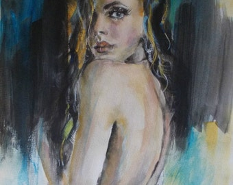 Original watercolor,figurative,woman,black,figure painting