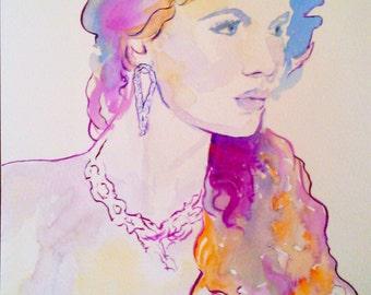SALE 20% OFF- Original fashion painting, fashion portrait,fashion watercolor painting,fashion illustration,woman portrait,fashion art