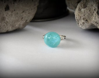 Dichroic Glass ring turquoise adjustable-glass jewel