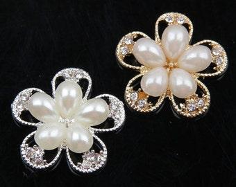 Pearl Rhinestone Flower Button, Rhinestone Button, Crystal Pearl Rhinestone Buttons, hair accessories,  hair bow,  weddings, 10pcs,HEA-22