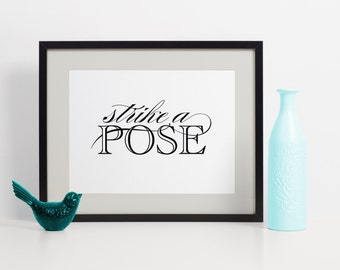 Strike a Pose, Photo Booth Sign, Photo Booth Sign Printable, Photo Booth Sign Wedding, Photo Booth Signage, Photo Booth Signs For Wedding