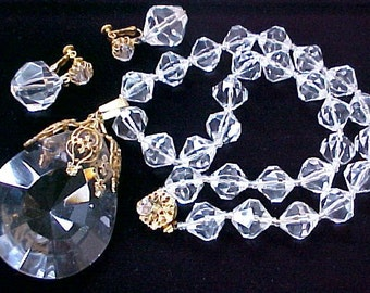 Miriam Haskell Clear Crystal Lucite Pendant Necklace Earrings Set signed vintage