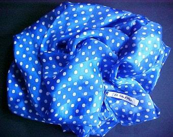 LONG Vintage Italian Silk Polka Dot Scarf blue white Preston of York Italy