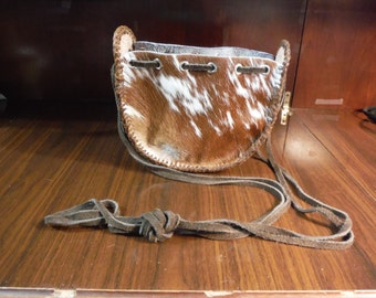 Hair on Leather Draw String Purse Fancy Brown and White All Leather with Hand Tooled Leather Gusset Dark String