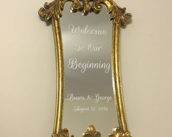 Large gold vintage mirror/Gorgeous mirror wedding sign/Wedding menu mirror sign/Wedding welcome sign