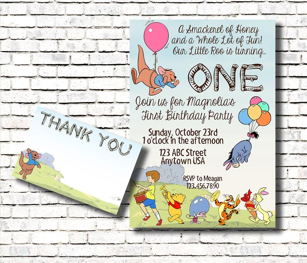 Winnie the Pooh - Roo Birthday Invitation & Thank You Card Combo ...