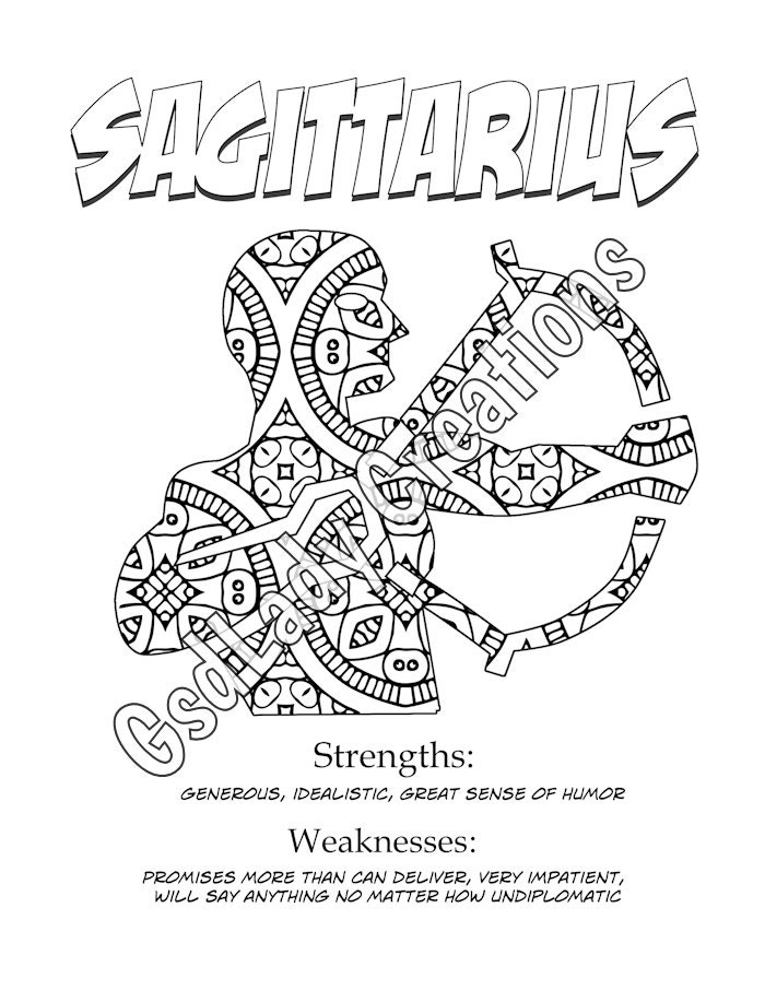 Zodiac Star Sign Art Print Sagittarius Astrology Print