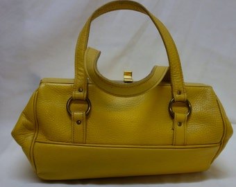 Roger Van S Mid Century Yellow Handbag Large Baguette