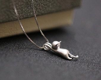 Sterling Silver Tiny Cat Pendant | Cat Pendant Cat Jewelry Cat Jewellery Cat Charm Cat Necklace Cat Lover Gift Silver Cat Necklace Cat Gift