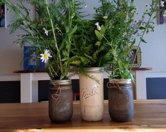 Vintage mason jar vase set